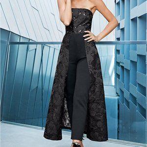SEQUIN DETAIL JUMPSUIT - black pants with skirt.